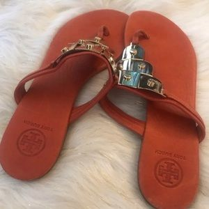 Tory Burch Sandals in Leather Burnt Orange